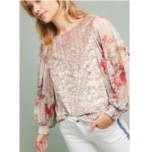 Anthropologie Floral Sleeve Velvet Top